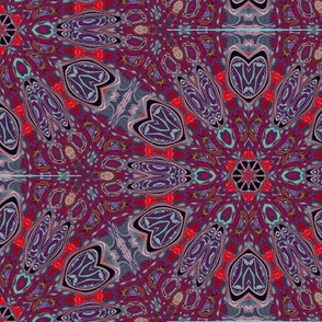 Kaleidoscope Moths Red Upholstery Fabric