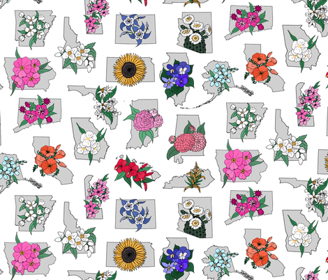State Flowers A to K fabric by pond_ripple on Spoonflower - custom fabric