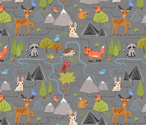 forest map fabric by torysevas on Spoonflower - custom fabric