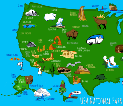 national parks map fabric by ghouk on Spoonflower - custom fabric