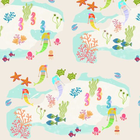 Mermaid sea pals 757 - mermaid lagoon2 fabric by drapestudio on Spoonflower - custom fabric