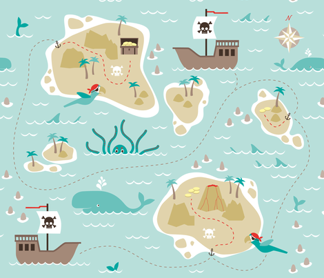 Pirate treasure map fabric by heleenvanbuul on Spoonflower - custom fabric