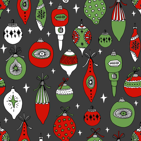 Vintage ornaments christmas tree ornament pattern fabric charcoal fabric by andrea_lauren on Spoonflower - custom fabric