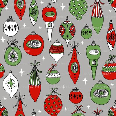 Vintage ornaments christmas tree ornament pattern fabric grey