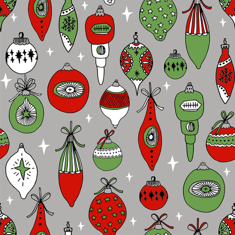 Vintage ornaments christmas tree ornament pattern fabric grey fabric by andrea_lauren on Spoonflower - custom fabric