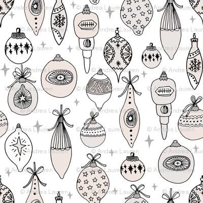 Vintage ornaments christmas tree ornament pattern fabric white cream