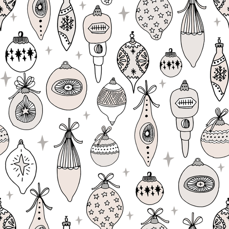 Vintage ornaments christmas tree ornament pattern fabric white cream fabric by andrea_lauren on Spoonflower - custom fabric