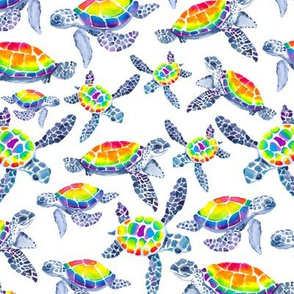 Technicolor Turtle on White