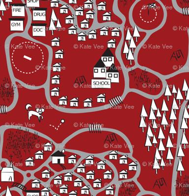Local Dog Walking Map Sketch red