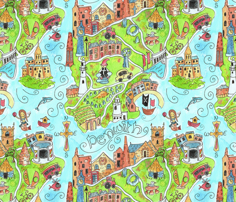 Penwith in Cornwall map fabric by lauraflorencedesign on Spoonflower - custom fabric