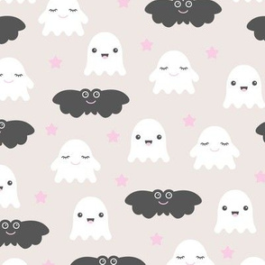 Kawaii love sweet ghosts and bats spooky halloween nights cuteness japan lovers design pink girls