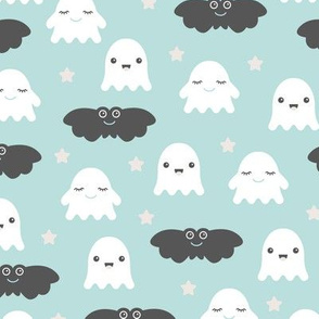 Kawaii love sweet ghosts and bats spooky halloween nights cuteness japan lovers design blue