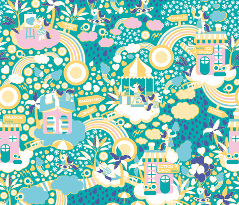 The secret map of unicorns village  fabric by selmacardoso on Spoonflower - custom fabric