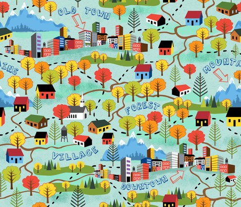 Fall Color Map fabric by vinpauld on Spoonflower - custom fabric