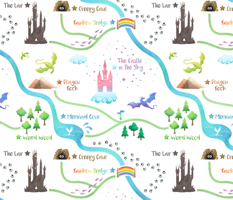 Fairytale Map fabric by tracey_knight on Spoonflower - custom fabric