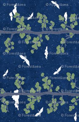 Forest Fabric, Crane Fabric | Indigo Japanese print fabric, bird fabric (large scale, 'railroad')