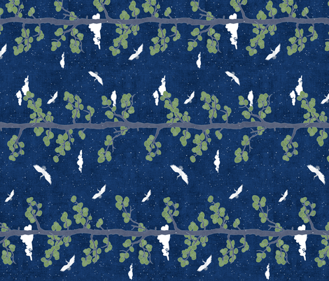 Forest Fabric, Crane Fabric | Indigo Japanese print fabric, bird fabric (large scale, 'railroad') fabric by forest&sea on Spoonflower - custom fabric
