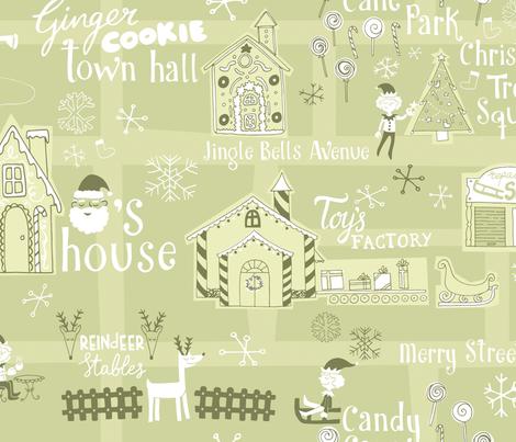 Santa's Village Map fabric by natalia_gonzalez on Spoonflower - custom fabric
