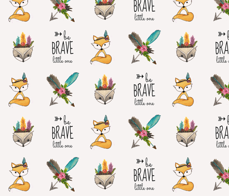 be_brave_little_one_with_animals fabric by calaismcneely on Spoonflower - custom fabric