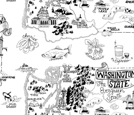 Washington Illustrated Map fabric by roguerenpnw on Spoonflower - custom fabric