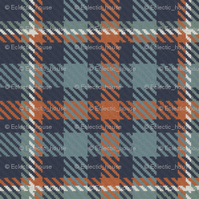 Navy Terra Cotta Blue Gray and Green Gray Bayeux Plaid
