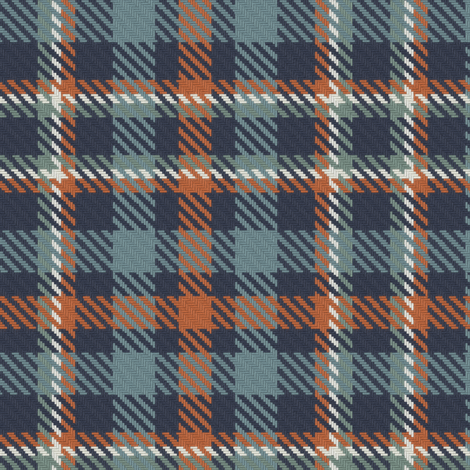 Navy Terra Cotta Blue Gray and Green Gray Bayeux Plaid fabric ...