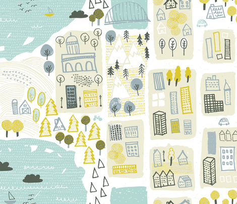 Happy Town by Friztin fabric by friztin on Spoonflower - custom fabric