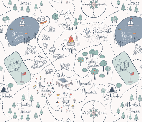Summer Camp Adventure Map fabric by juniperr on Spoonflower - custom fabric