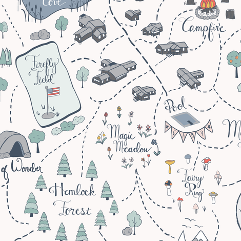 Summer Camp Magic Map fabric by juniperr on Spoonflower - custom fabric