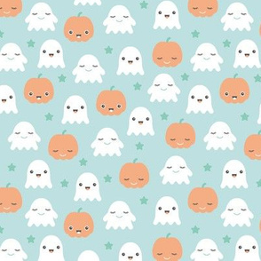 Kawaii love ghosts and pumpkins halloween fright night horror lovers design gender neutral