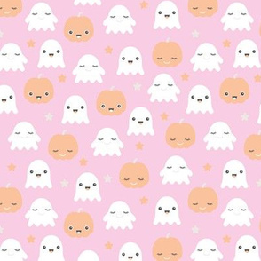 Kawaii love ghosts and pumpkins halloween fright night horror lovers design pink for girls