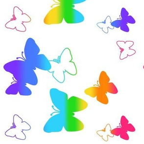 Rainbow Butterfly Silhouette Abstract Multicolor