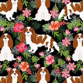 cavalier king charles spaniel dog fabric - blenheim hawaiian tropical florals - black