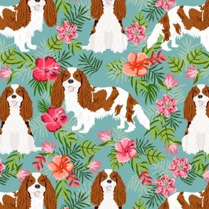 cavalier king charles spaniel dog fabric - blenheim hawaiian tropical florals - gulf blue