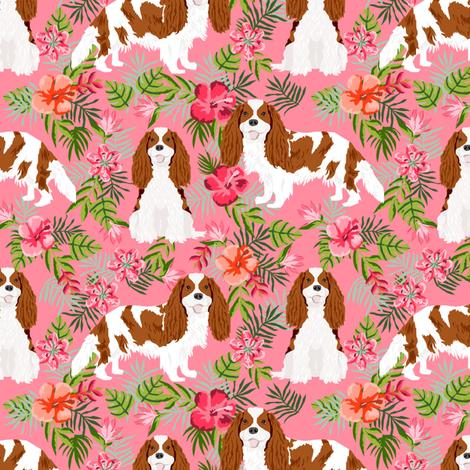 cavalier king charles spaniel dog fabric - blenheim hawaiian tropical florals - pink fabric by petfriendly on Spoonflower - custom fabric