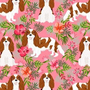 cavalier king charles spaniel dog fabric - blenheim hawaiian tropical florals - pink