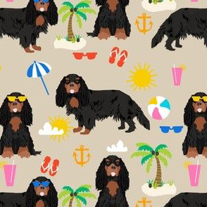 cavalier king charles spaniel dog fabric - black and tan summer beach day design - sand