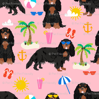 cavalier king charles spaniel dog fabric - black and tan summer beach day design - pink