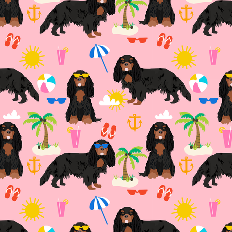 cavalier king charles spaniel dog fabric - black and tan summer beach day design - pink fabric by petfriendly on Spoonflower - custom fabric