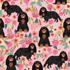 cavalier king charles spaniel dog florals fabric cute dog design - black and tan - pink