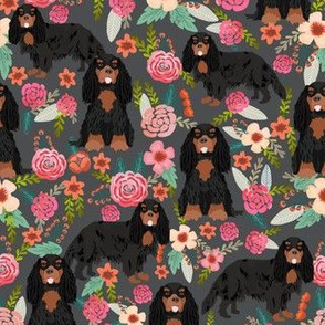 cavalier king charles spaniel dog florals fabric cute dog design - black and tan - charcoal