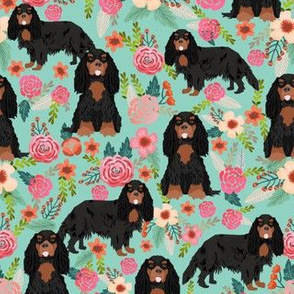 cavalier king charles spaniel dog florals fabric cute dog design - black and tan - turquoise
