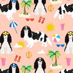 cavalier king charles spaniel beach day fabric - tricolored cavalier dog design - peach