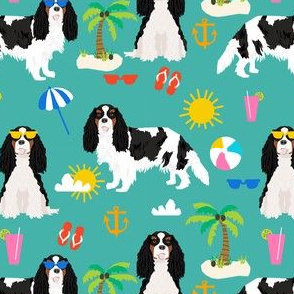 cavalier king charles spaniel beach day fabric - tricolored cavalier dog design - turquoise