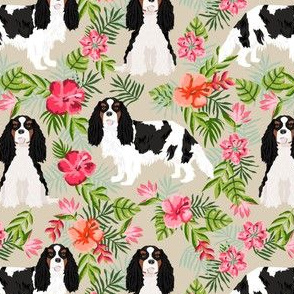 cavalier king charles spaniel dog fabric - tricolored hawaiian tropical florals - sand