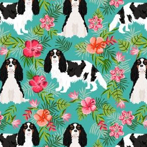 cavalier king charles spaniel dog fabric - tricolored hawaiian tropical florals - turquoise