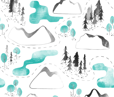 Outdoor Map fabric by lidiebug on Spoonflower - custom fabric