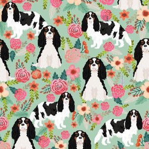 cavalier king charles spaniel dog florals fabric cute dog design - tricolored - mint