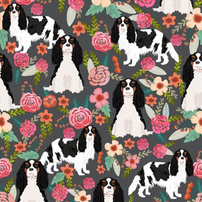 cavalier king charles spaniel dog florals fabric cute dog design - tricolored - charcoal