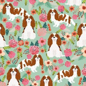cavalier king charles spaniel dog florals fabric cute dog design - blenheim - mint